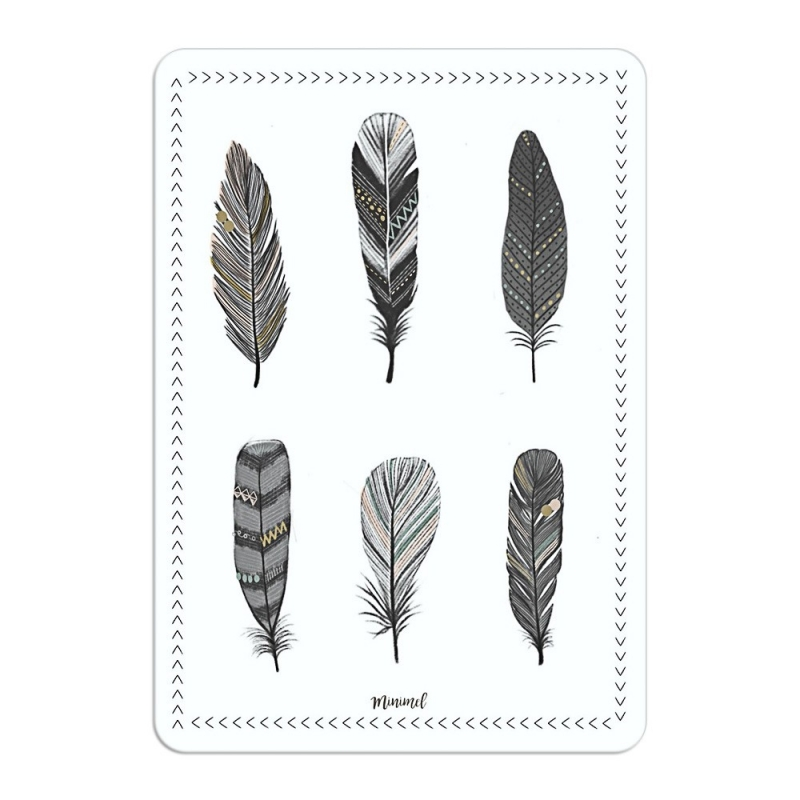 Carte Postale Plumes - Format A6 ou A5 Illustré par Minimel - Boutique Les inutiles