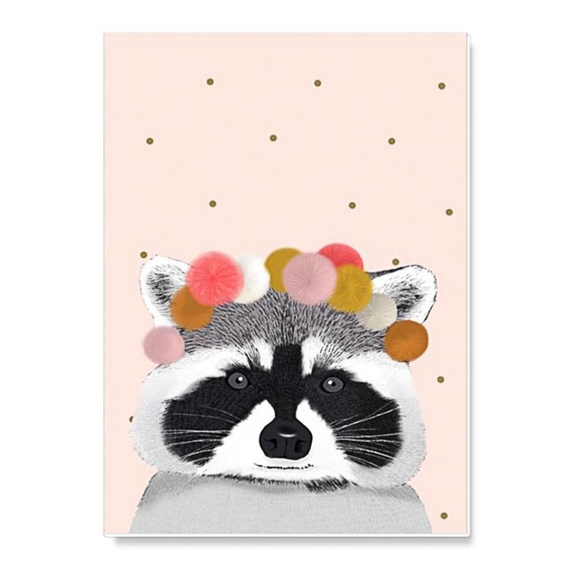 Cahier d'écolier Raccoon et Pompons - Format A5 - 48 pages - Illustré par Minimel - Boutique Les inutiles