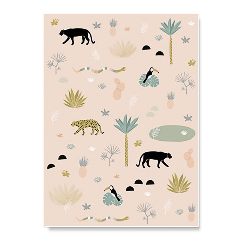 Cahier d'écolier Jungle - Format A5 - 48 pages - Illustré par Minimel - Boutique Les inutiles