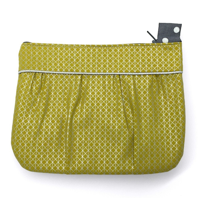 Pochette Mauricette Jaune Moutarde & Argent - Made in France - Boutique Les inutiles