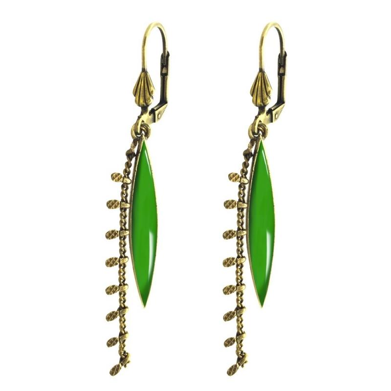 Boucles d'oreilles Léonie Vert Absinthe - Bijoux Marine de Diesbach - Inspirées des Années 20 - Boutique Les inutiles