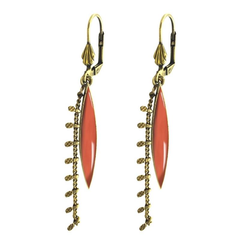 Boucles d'oreilles Léonie Corail - Bijoux Marine de Diesbach - Inspirées des Années 20 - Boutique Les inutiles