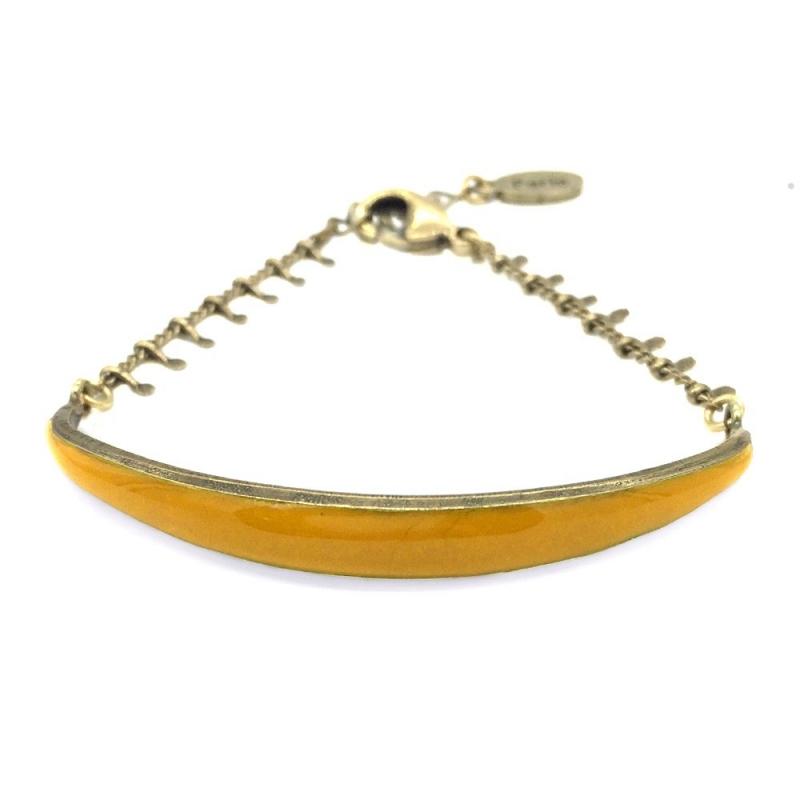 Bracelet Léonie Jaune Moutarde - Bijoux Marine de Diesbach - Inspiré des Années 20 - Boutique Les inutiles