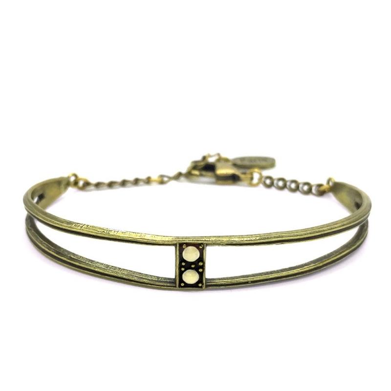 Bracelet Jonc Scarlet Beige - Bijoux Marine de Diesbach - Inspiré des Années 20 - Boutique Les inutiles