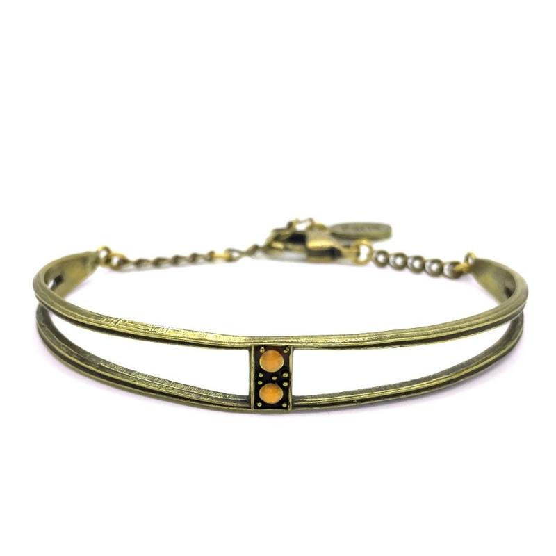 Bracelet Jonc Scarlet Jaune Moutarde - Bijoux Marine de Diesbach - Inspiré des Années 20 - Boutique Les inutiles