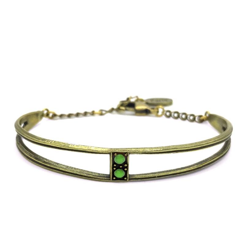 Bracelet Jonc Scarlet Vert Absinthe - Bijoux Marine de Diesbach - Inspiré des Années 20 - Boutique Les inutiles