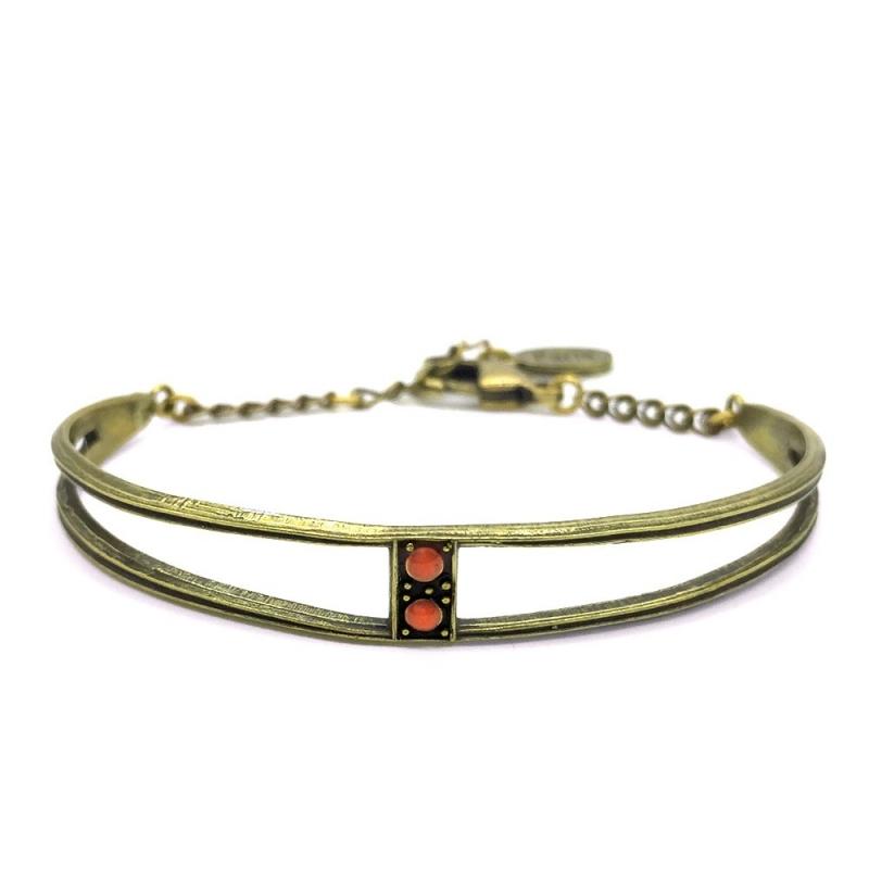 Bracelet Jonc Scarlet Corail - Bijoux Marine de Diesbach - Inspiré des Années 20 - Boutique Les inutiles
