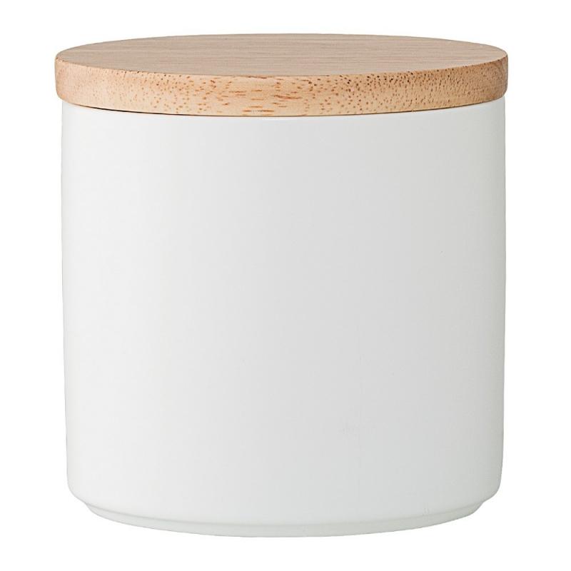 Pot Blanc & Couvercle en Bois - Bloomingville - Boutique Les inutiles