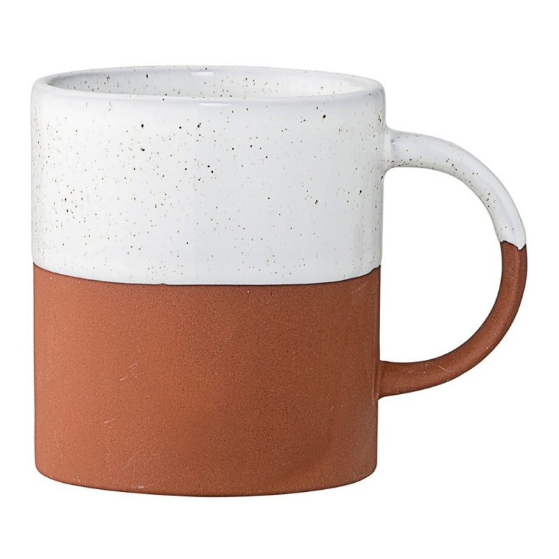Duo de Mugs Terracotta Mat et Blanc - Bloomingville - Boutique Les inutiles