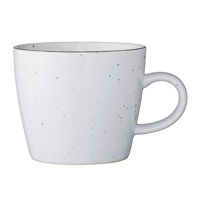 Duo de Mugs Blancs Emily - Liseré Argent  - Bloomingville - Boutique Les inutiles