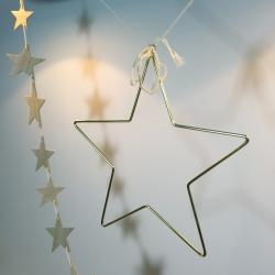 Déco de Noël • Grande étoile Or en fil de laiton et guirlande en bois à suspendre dans le sapin de Noël … Les inutiles à Loches