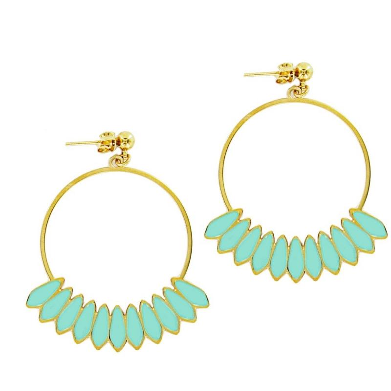 Boucles d'oreilles Créoles Bali or et turquoise - Laëti Trëma - Les inutiles