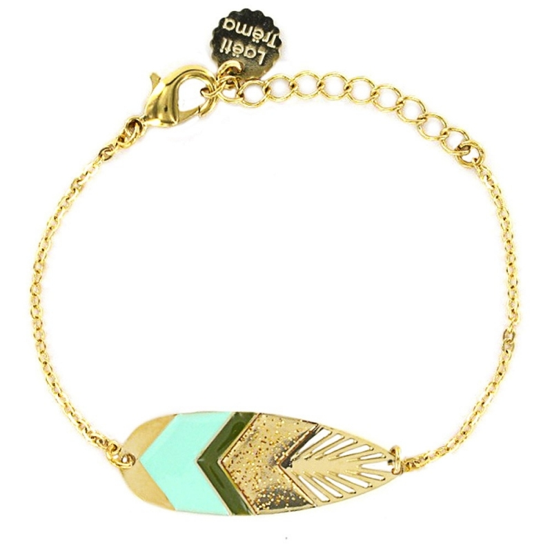 Bracelet Plume Sunshade - Or et Bleu Turquoise - Laëti Trëma - Boutique Les inutiles