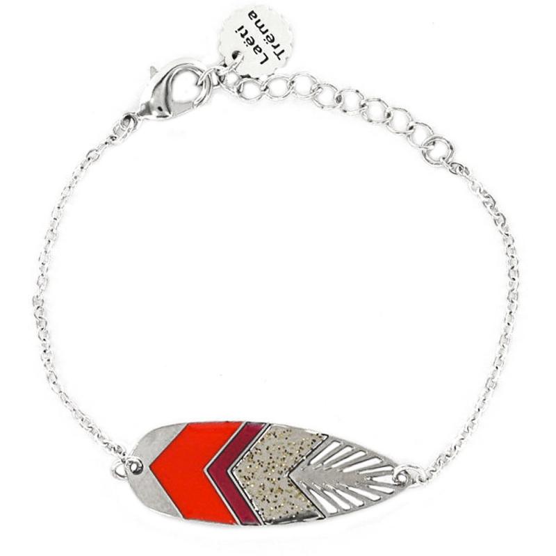 Bracelet Plume Sunshade - Argent et Rouge Garance - Laëti Trëma - Boutique Les inutiles