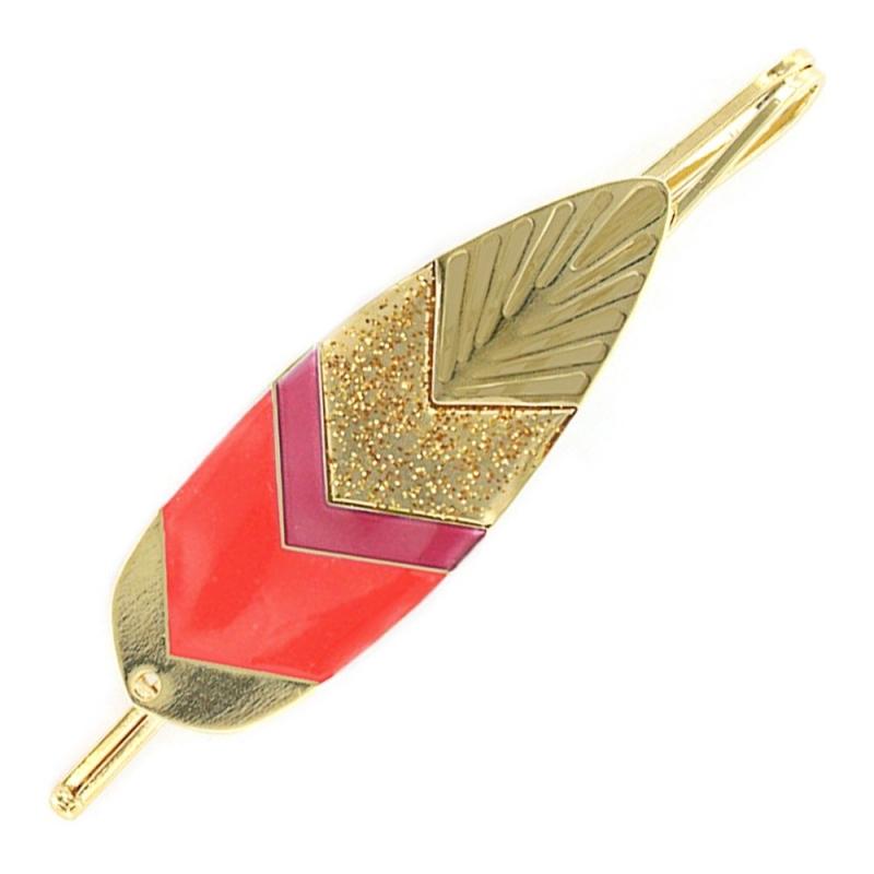 Barrette Plume Sunshade - Or et Rouge Garance - Laëti Trëma - Boutique Les inutiles