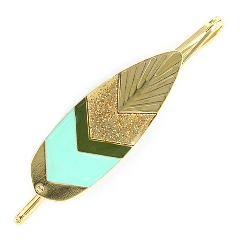 Barrette Plume Sunshade - Or et Bleu Turquoise - Laëti Trëma - Boutique Les inutiles