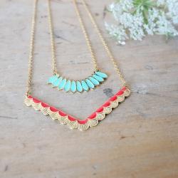 Collier Bali or et turquoise et collier wave rouge - Laëti Trëma - Les inutiles