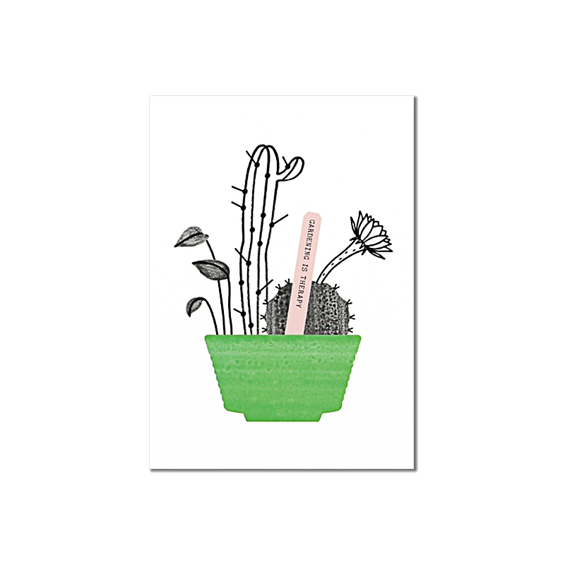 Carte Postale Botanic - Gardening is Therapy - Illustrée par Audrey Jeanne - Boutique Les inutiles