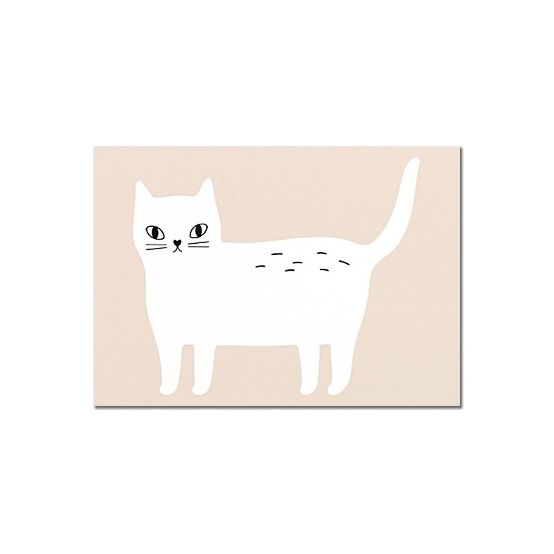 Carte Postale Kitty - Chat Rose - Illustrée par Audrey Jeanne - Boutique Les inutiles
