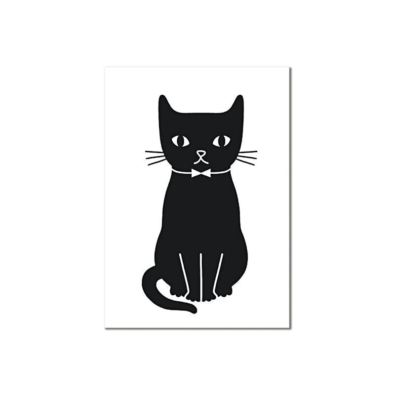 Carte Postale Kitty Assis - Chat Noeud Pap - Illustrée par Audrey Jeanne - Boutique Les inutiles