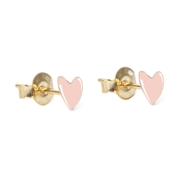Boucles d'oreilles puces coeurs rose - Bo Grant by Titlee - Boutique Les inutiles