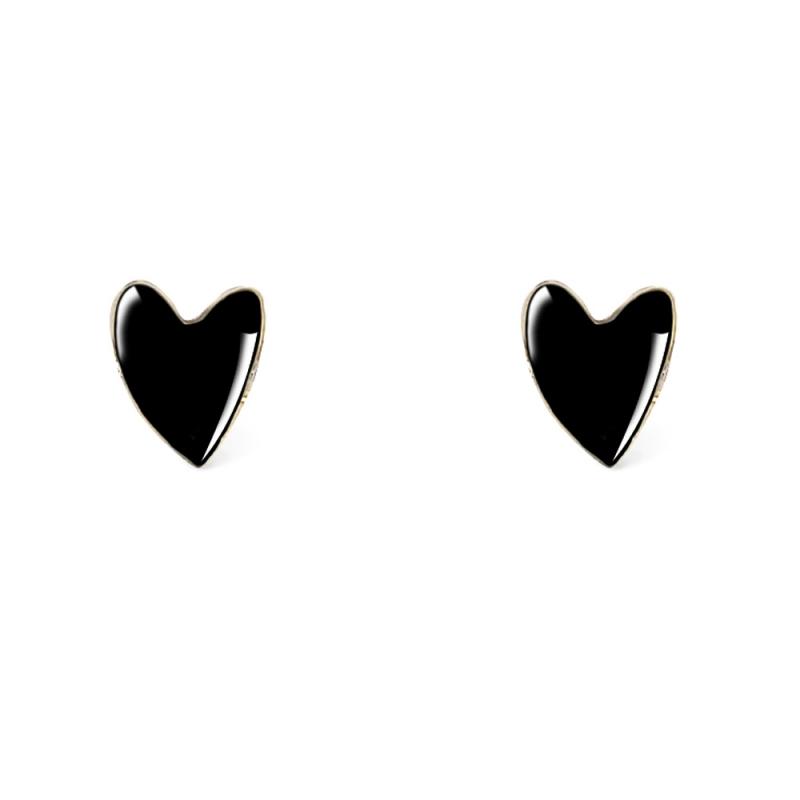 Boucles d'oreilles coeurs noirs - Bo puces grant Titlee - Boutique Les inutiles