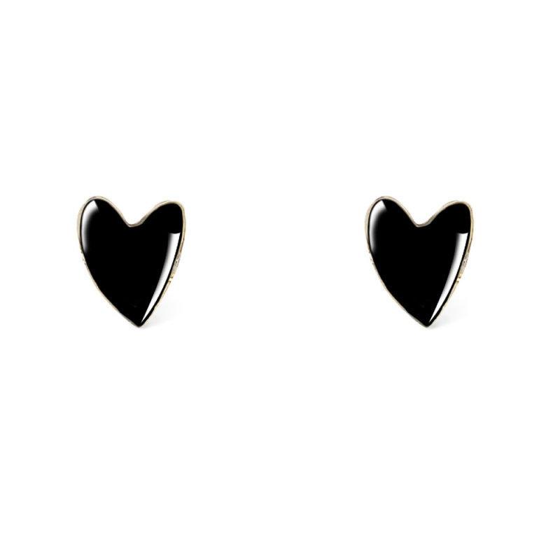 Boucles d'oreilles Cœur Noir - Titlee - Collection Grant - Boutique Les inutiles