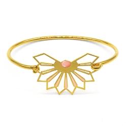Bracelet jonc Fleur D'ibiscus - rose saumon - Marie Duvert
