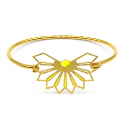 Bracelet jonc Fleur D'ibiscus - jaune ananas - Marie Duvert