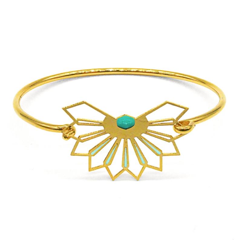 Bracelet jonc Fleur D'ibiscus - bleu mint - Marie Duvert