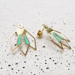 Boucles d'oreilles Fleur D'ibiscus - vert émeraude - Marie Duvert