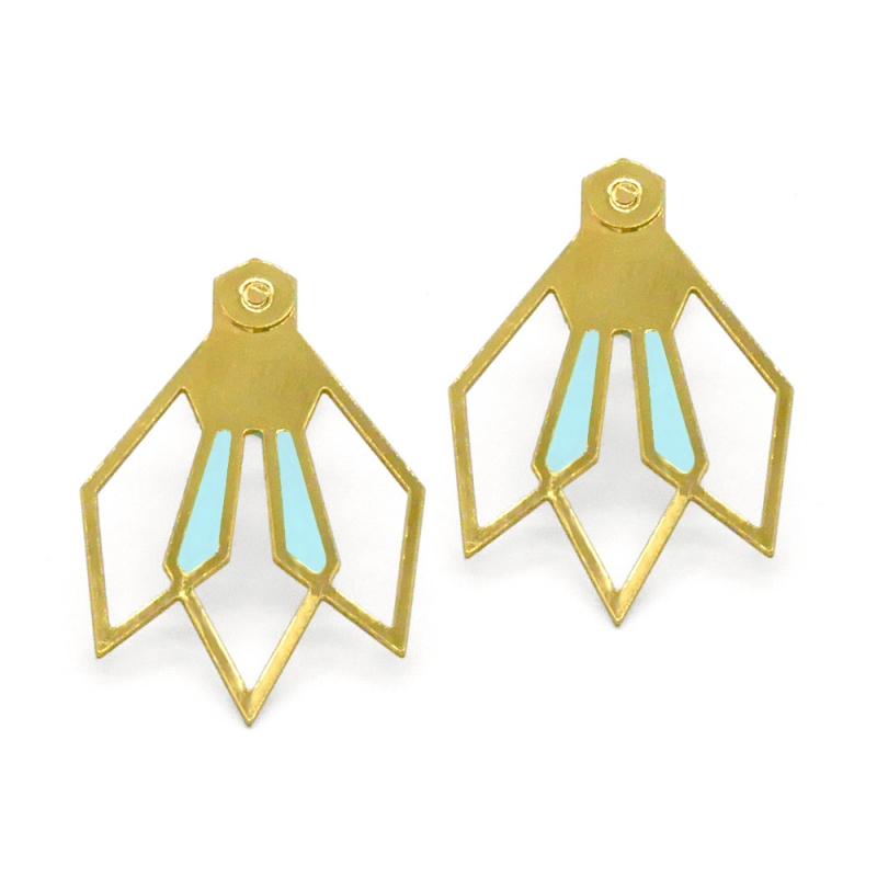 Boucles d'oreilles Fleur D'ibiscus - bleu ciel - Marie Duvert