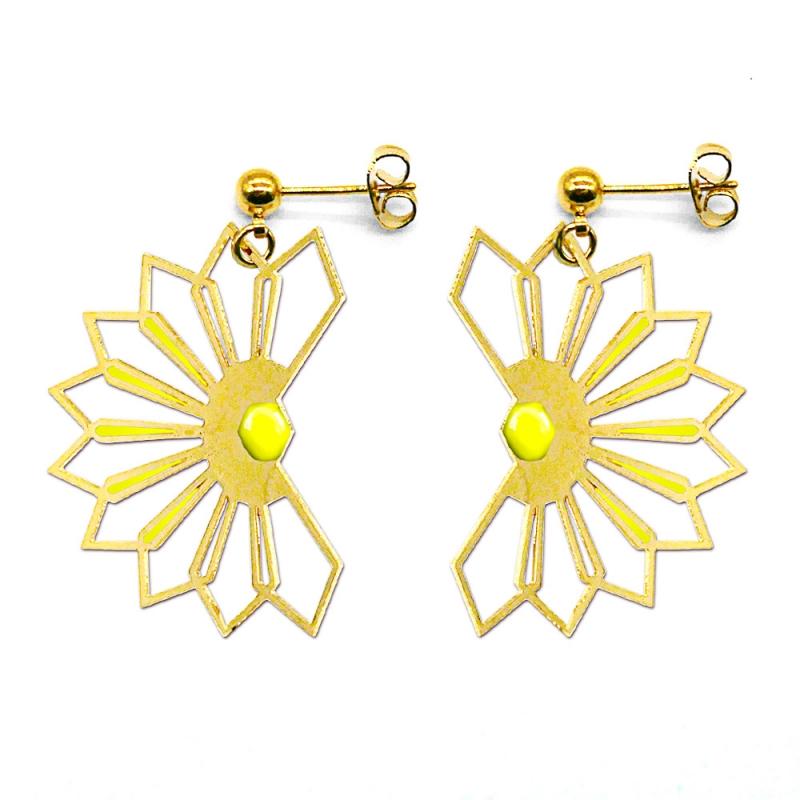 Boucles d'oreilles Fleur D'ibiscus - Jaune Ananas - Marie Duvert - Boutique Les inutiles