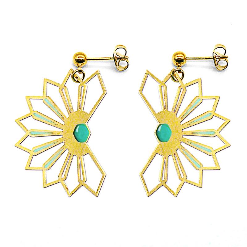 Boucles d'oreilles Fleur D'ibiscus - Bleu Paon - Marie Duvert - Boutique Les inutiles