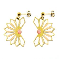 Boucles d'oreilles pendantes Fleur D'ibiscus - Rose saumonné - Bijoux Marie Duvert