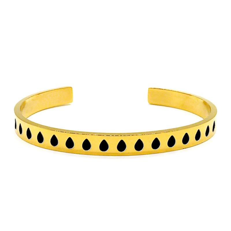 Bracelet jonc en métal doré émaillé de gouttes noires