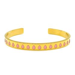Bracelet jonc en métal doré émaillé de gouttes rose pastel