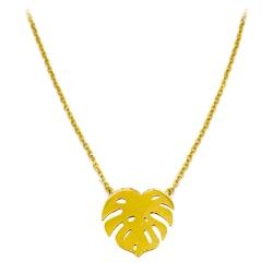 Collier Monstera • Pendentif Feuille dorée • Bijoux Urban Jungle et botanique • Eshop cadeaux Les inutiles