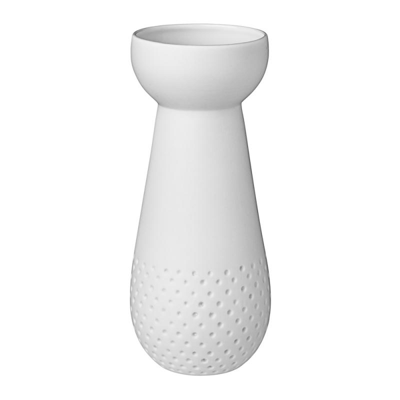 Vase à bulbe en porcelaine blanche mate par Räder - vase blanc à pois - Les inutiles