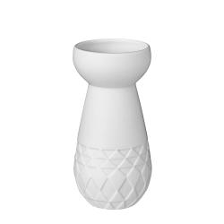 Vase à bulbe en porcelaine blanche mate par Räder - vase blanc à losanges - Les inutiles
