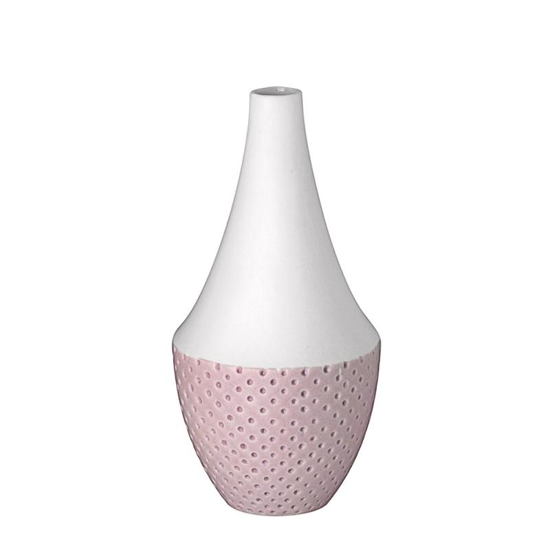 Vase à Pois en porcelaine blanche mate par Räder - Soliflore blanc et rose pastel - Les inutiles