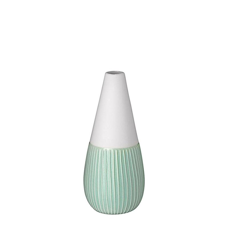 Vase Figue en porcelaine blanche mate par Räder - Soliflore blanc et mint - Les inutiles