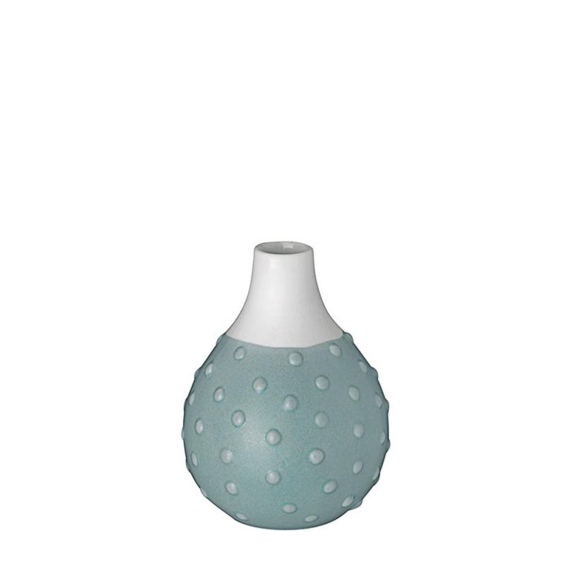 Vase Grenade en porcelaine blanche mate par Räder - Soliflore blanc et bleu - Les inutiles