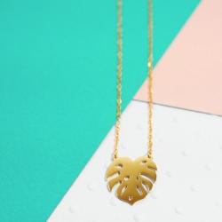 Collier Feuille de Monstera doré • Boutique de bijoux et idées cadeaux à Loches, Sud Touraine • Les inutiles