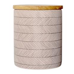 pot rose et couvercle en bois hermétique, motifs à chevron gris anthracite, boîte bloomingville - boutique Les inutiles