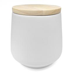 Pot hermétique blanc et couvercle en bois - cuisine pot bloomingville boutique les inutiles