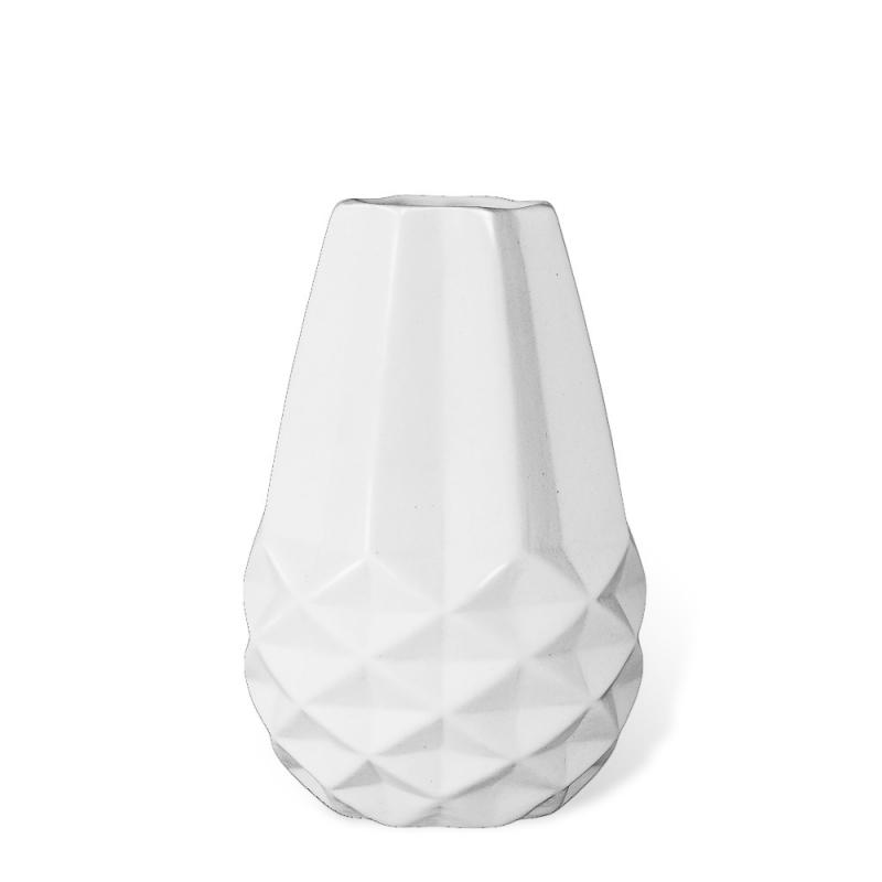 Petit Vase Origami en Céramique Blanc Mat - Hübsch - Boutique Les inutiles
