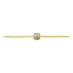 Bracelet en vermeil serti d'une labradorite carrée - bracelet doré et pierre fine   muja juma - boutique les inutiles