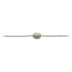 Bracelet en argent serti d'une labradorite ovale facettée - bracelet doré et pierre fine   muja juma - boutique les inutiles