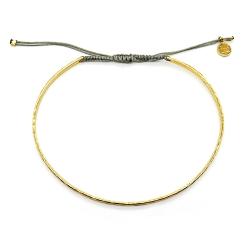 Bracelet jonc martelé en argent plaqué or et cordon gris perle -  muja juma - boutique les inutiles